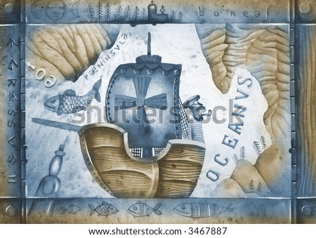 Boat and old geographical map. Sepia version. Illustration by Eugene Ivanov. - stock photo