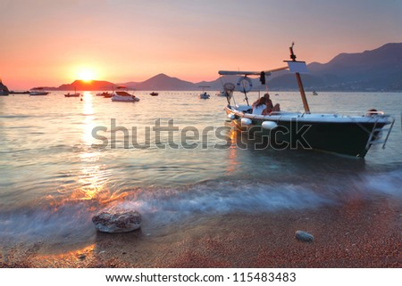 Boat at St. Stephen's in the sunset. - stock photo