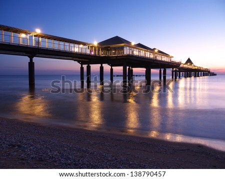 boat bridge at morning dawn/Island of Usedom/Germany - stock photo