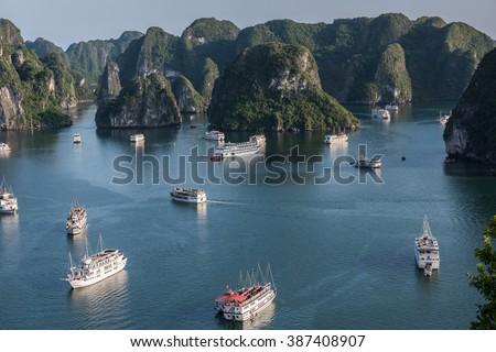 Boat Cruising in Vietnam - stock photo