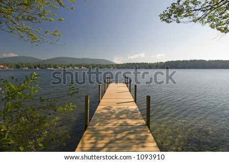 Boat dock out to the horizon - stock photo