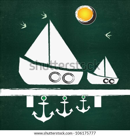 Boat drawing on blackboard blackground - stock photo