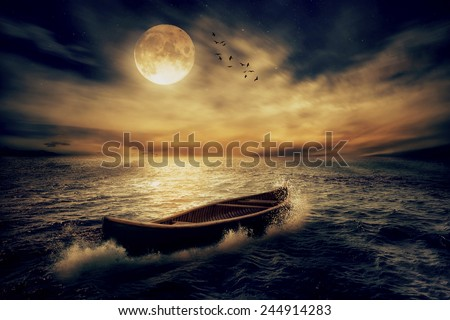 Boat drifting away in middle ocean after storm without course moonlight sky night skyline clouds background. Nature landscape screen saver. Life hope concept. Elements of this image furnished by NASA - stock photo