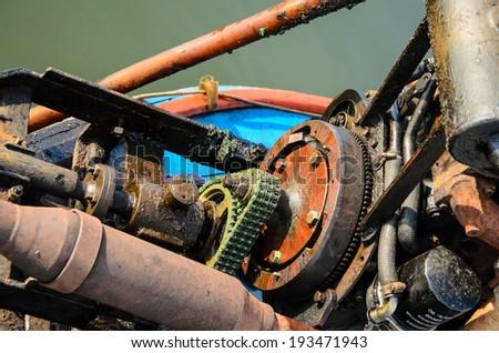 Boat engine, boat motor engine, close up. - stock photo