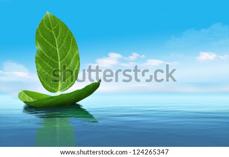 Boat from leaves - stock photo