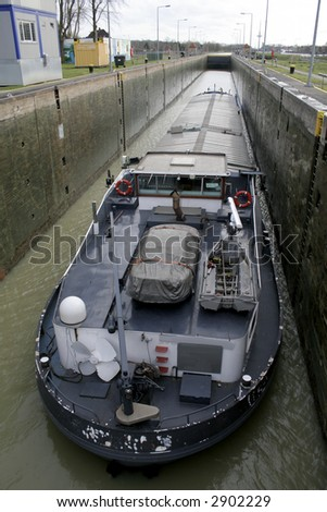 boat in lock - stock photo