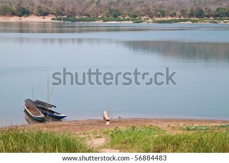 Boat in Makong river - stock photo