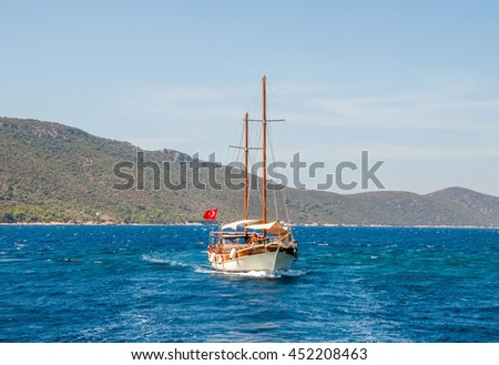 Boat in the Aegean Sea. Bodrum, Mugla, Turkey - stock photo
