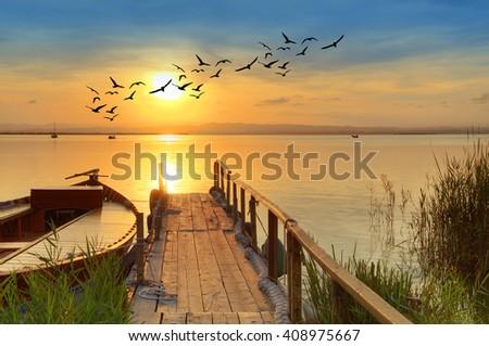 boat in the lake - stock photo