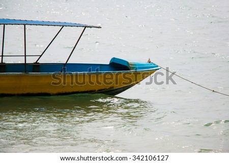 Boat is sailing in the sea at Gulf of Thailand, Toey Ngam Bay. Sattahip District, Chonburi. - stock photo