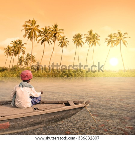 Boat near a lonely beach in the paradise. - stock photo
