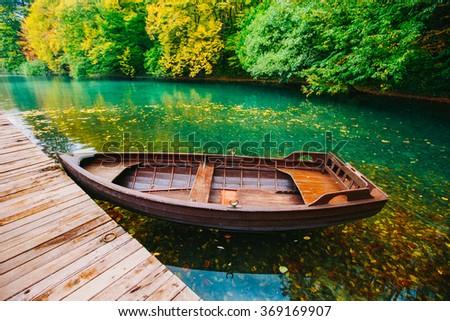 Boat near the lake - stock photo