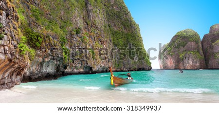 boat on sand of Maya bay Phi phi island  - stock photo