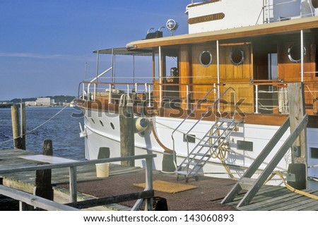 Boat on the Potomac River, Old Town Alexandria, Washington, DC - stock photo