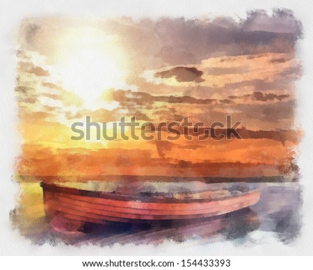 Boat on the River - stock photo