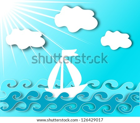 boat on the waves, sunny sky and clouds - stock photo