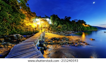 Boat pier at sunset. Beautiful landscape. - stock photo
