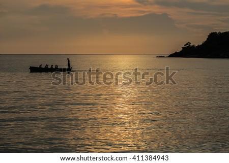 Boat Regatta Silhouette. - stock photo