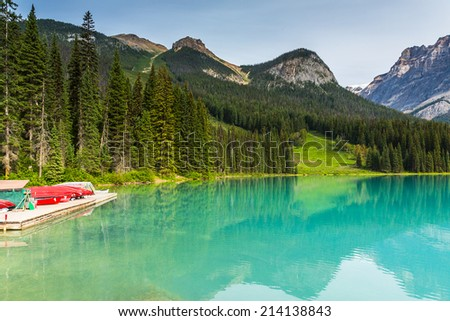 Boat rental at the Emerald Lake in canada - stock photo