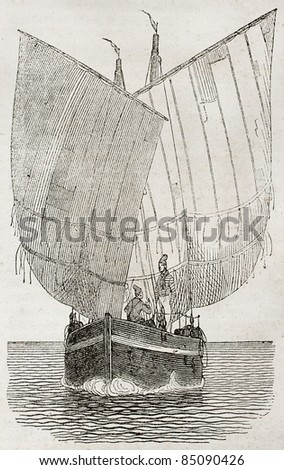 Boat sailing old illustration. By unidentified author, published on Magasin Pittoresque, Paris, 1840 - stock photo