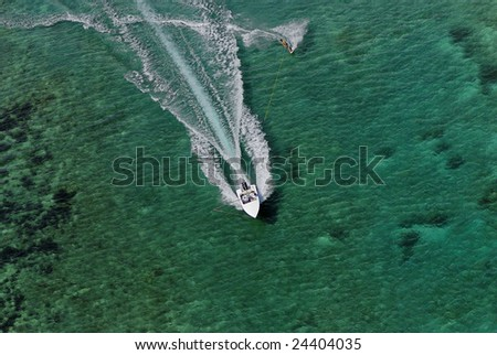 boat ski shot from a helicopter - stock photo