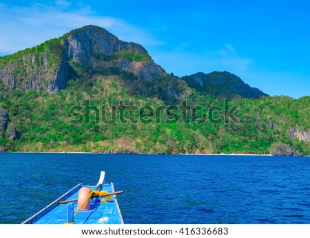 Boat trip to mountain islands, Palawan, Philippines - stock photo