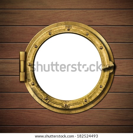 boat window or porthole on wooden ship wall  - stock photo