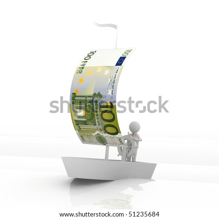 boat with a sail from a euro - stock photo
