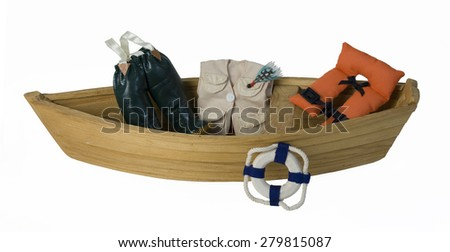 Boat with Fishing Gear and Life Vest - path included - stock photo