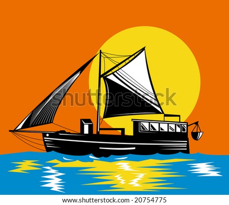 Boat with sun in the background - stock photo