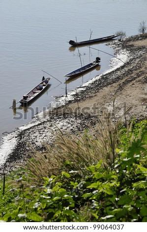 Boat Wood River Fishing Thailand Nature - stock photo