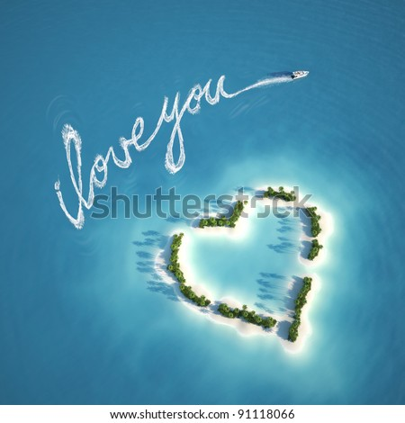 boat writing a love message with the trail on the water near a heart shape island ideal for valentines post card - stock photo