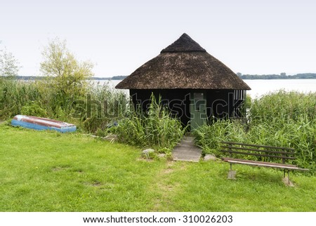 Boathouse at the Schaalsee in Germany - stock photo