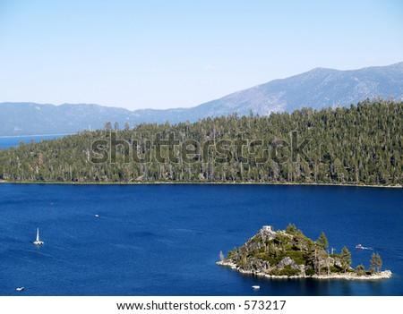Boating at Vikingsholm Beach - Lake Tahoe - Emerald Bay State Park, CA - stock photo