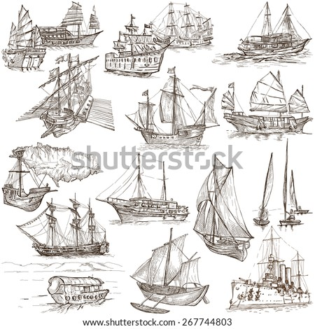 Boats and Ships around the World. Collection of an hand drawn illustrations. Description: Full sized hand drawn illustrations. Original freehand sketches on white background. - stock photo
