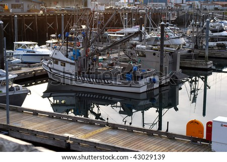 Boats at Dock in Morning at Kodiak Harbor, Alaska - stock photo