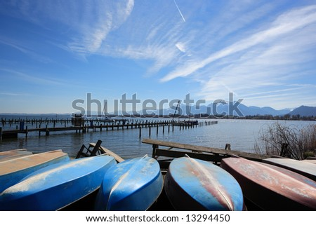 boats at lake - stock photo