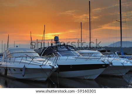 Boats at Sunrise - stock photo