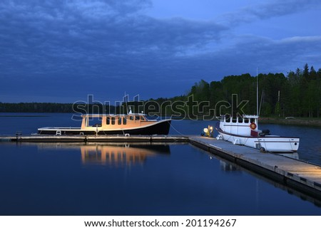 Boats at Twilight - stock photo