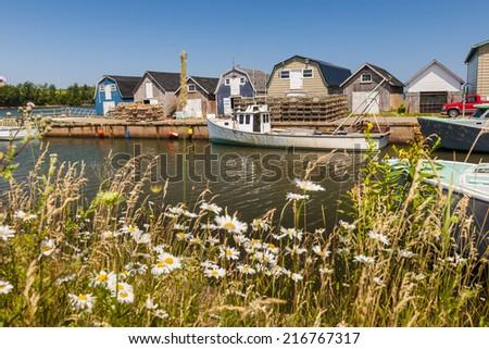 Boats docked at fishing village near Cavendish, Prince Edward Island, Canada. - stock photo
