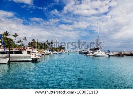 Boats docked in the harbor at Lahaina, Maui, Hawaii - stock photo