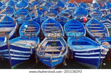 Boats.Essueirra city ( Unesco heritage).Morocco - stock photo