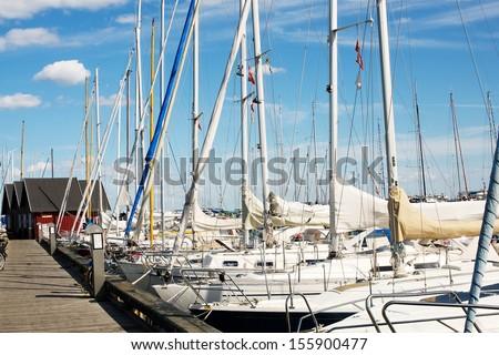 Boats in a marina - stock photo