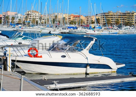 boats in Alghero harbor, Italy - stock photo