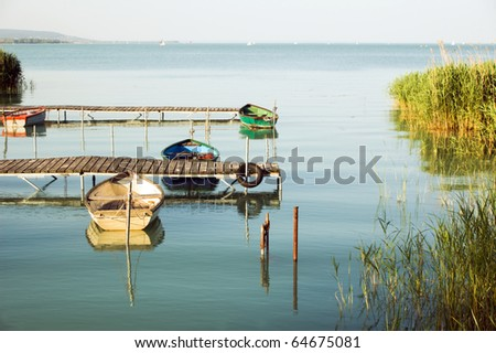 boats in Balaton lake - stock photo