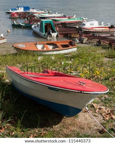 Boats in Danube marine - stock photo