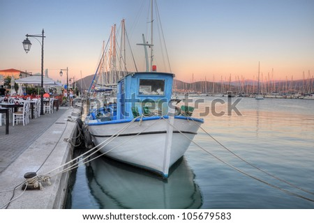 Boats in Lefkada port,suprised at sunset. - stock photo