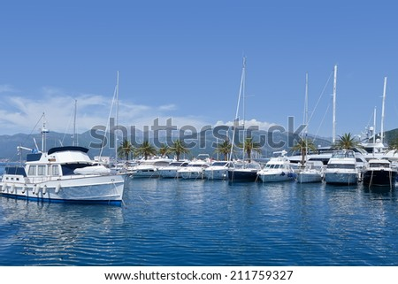 Boats in marina, Montenegro, Adriatic Sea  - stock photo