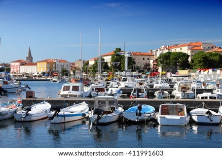 Boats in marina - Porec on Istria peninsula, Croatia - stock photo