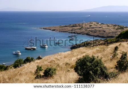 Boats in the Aegean sea - stock photo